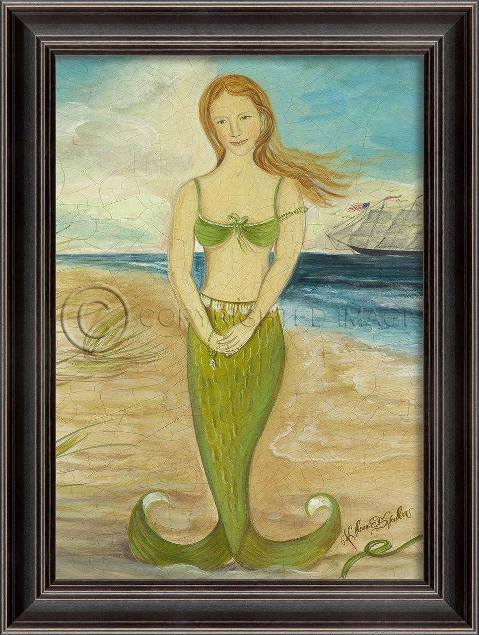 Red-Headed Mermaid in Green Framed Wall Art - Small | Mermaid, Black ...