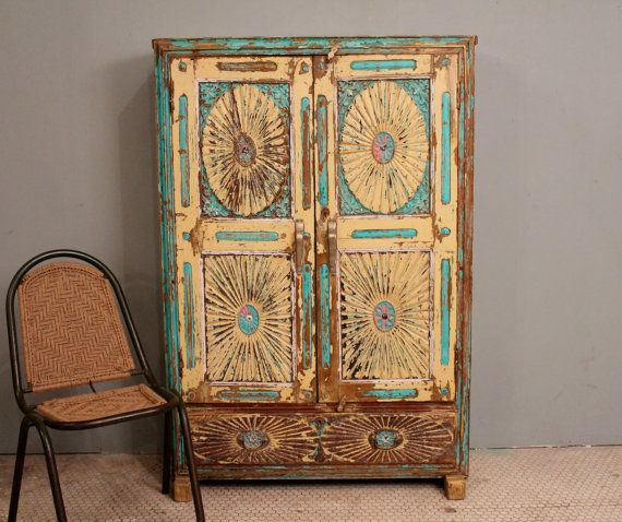Antique Distressed Rustic Hand Carved Bright Turquoise Indian Cupboard.  $1,299.00, via Etsy. # - Antique Distressed Rustic Hand Carved Bright Turquoise Indian