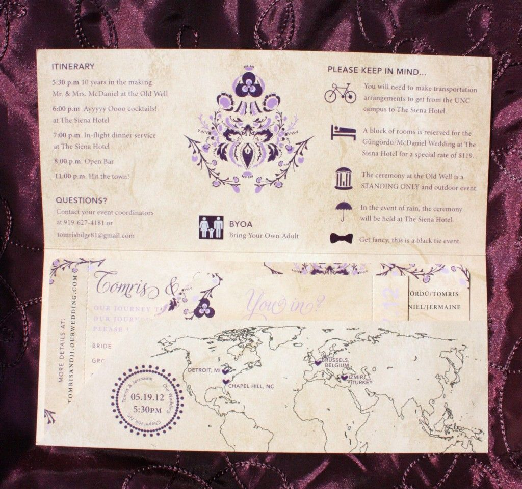 Antique Airline Ticket Inviations With Carolina Old Well Turkish