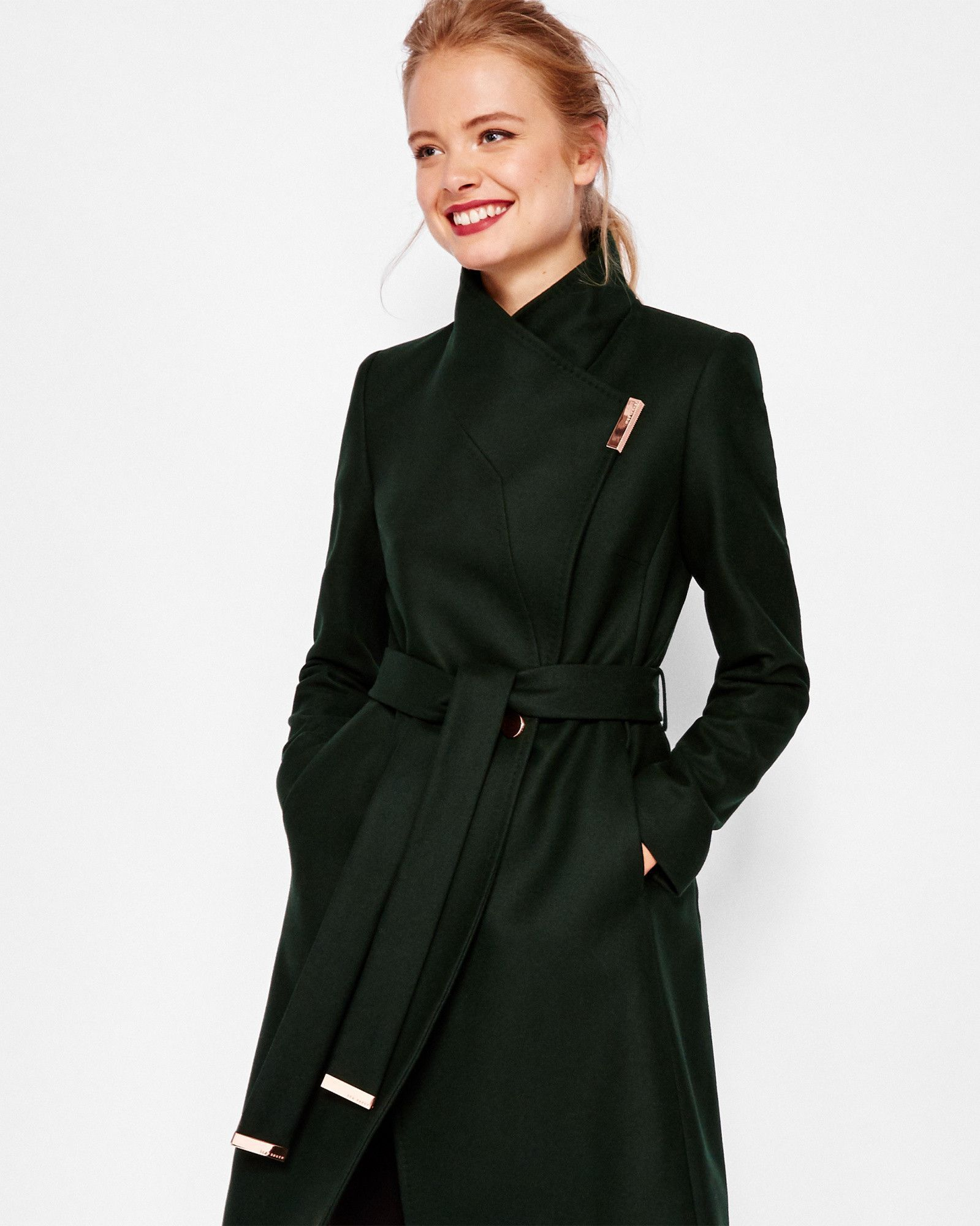a3be68eff Cashmere-blend wrap front coat - Dark Green