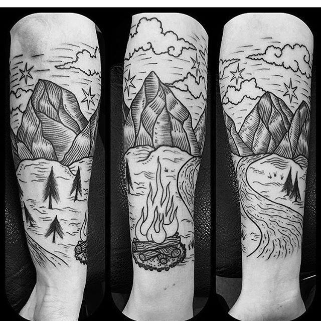80+ Gambar Blackwork Tattoo Woodcut terbaru 2019