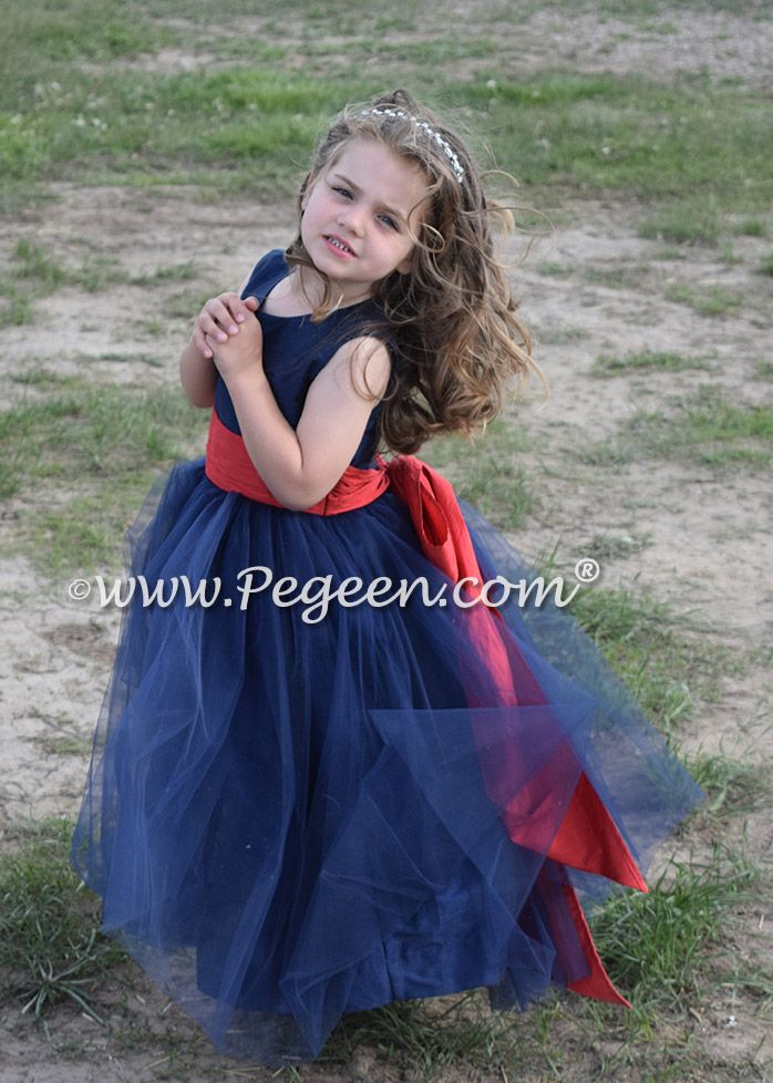 8570cb5b63 Navy and Brick Red Tulle and Silk flower girl dresses - Style 356 ...