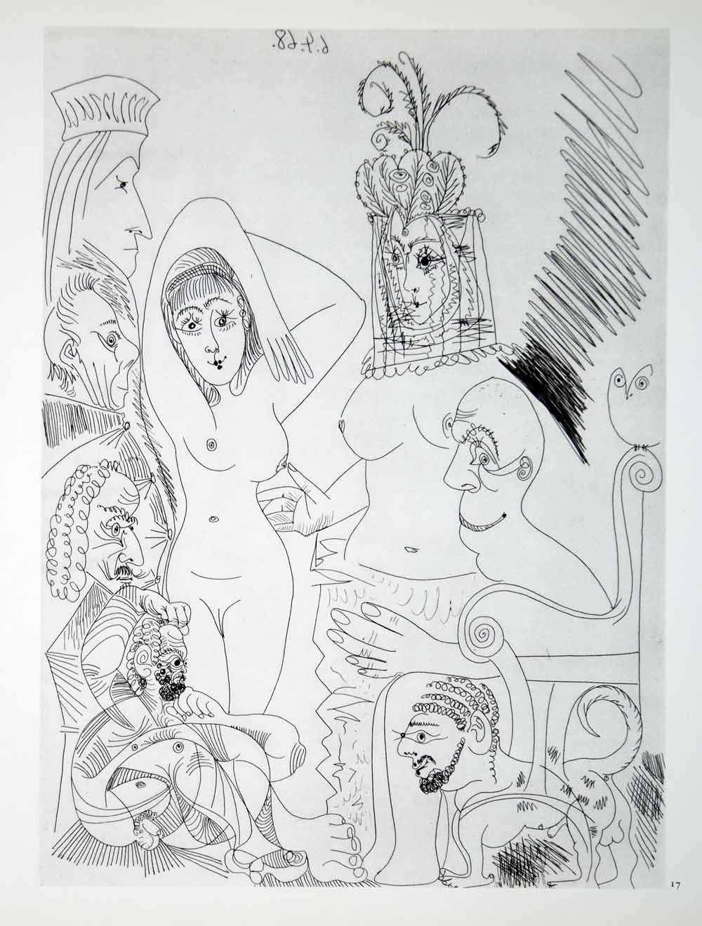 1970 Heliogravure Pablo Picasso Nudes Women Veil Faces Abstract Modern Art P347A