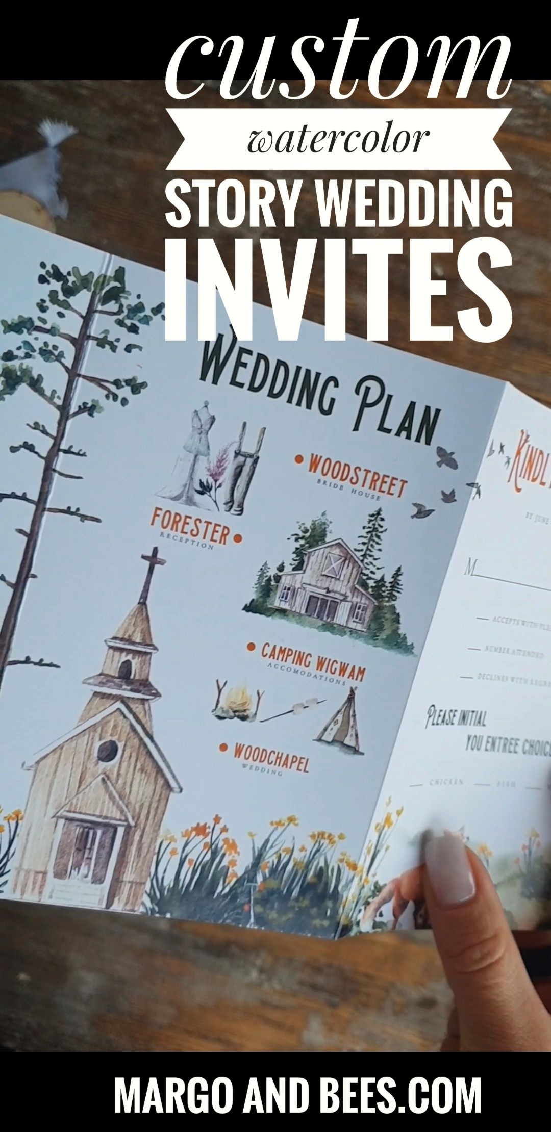 Wtarecolor Story wedding Invitation with a Custom Made wedding map . Perfect for Rustic Elopment wedding  or Mountains Outdoor wedding.