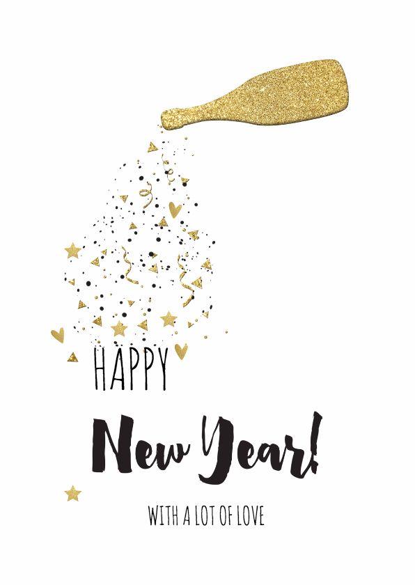unieke nieuwjaarskaart met een feestelijk goud gekleurde champagne fles confetti sterren en hartjes verkrijgbaar bij kaartje2go voor 189