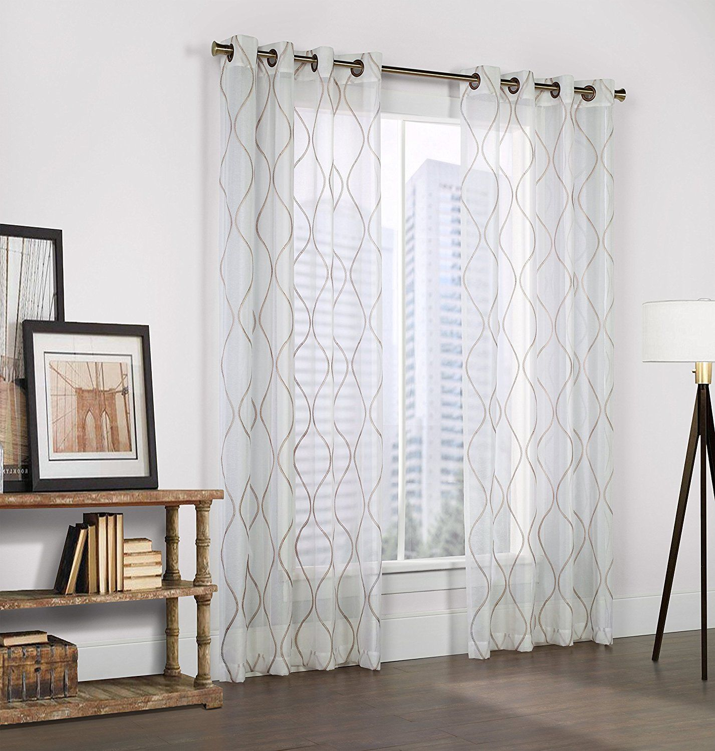 pair sage linen textured mint curtain faux grommet solid curtains striped heavyweight top product