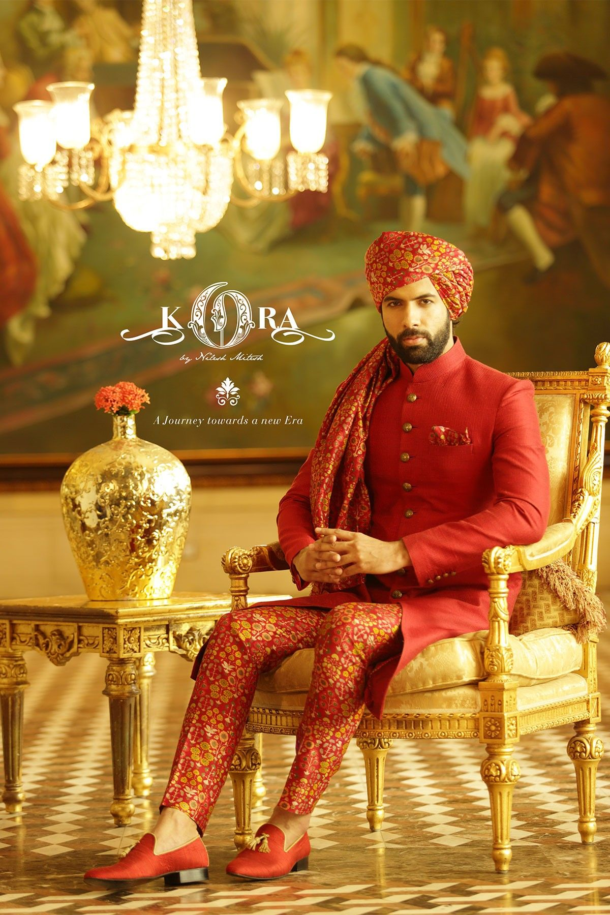 Samyakk red silk embroidered achkan sherwani mens ethinic in