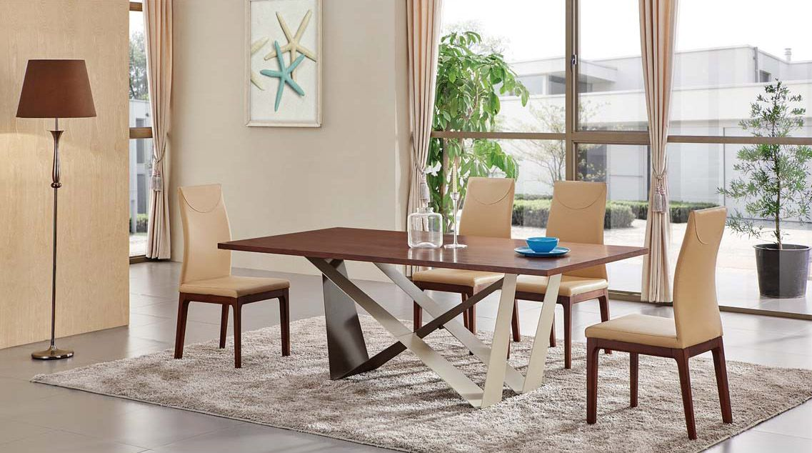 Casual rectangular glass dining table in walnut and chairs. The modern wood table is constructed of steel and wood veneers coated in an exclusive walnut with beige chairs. The table features wood table top supported by the V shaped legs. The table has a two-tone base. This sleek modern dining room s...