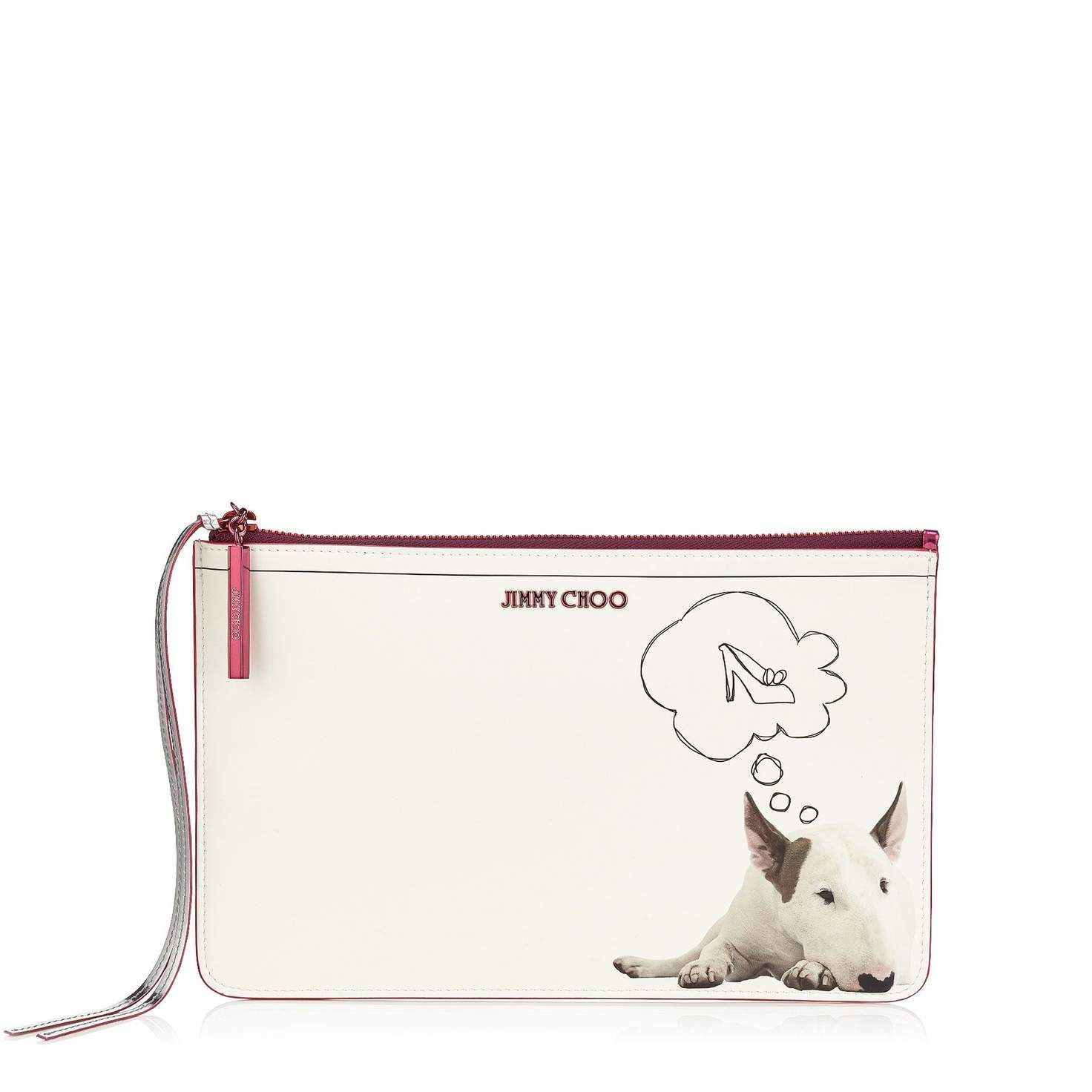 Daydream on White Printed Coated Canvas and Raspberry Mirror Leather Pouch| Nina L | Pre Fall 15 Capsule Collection | JIMMY CHOO View All Gifts for her