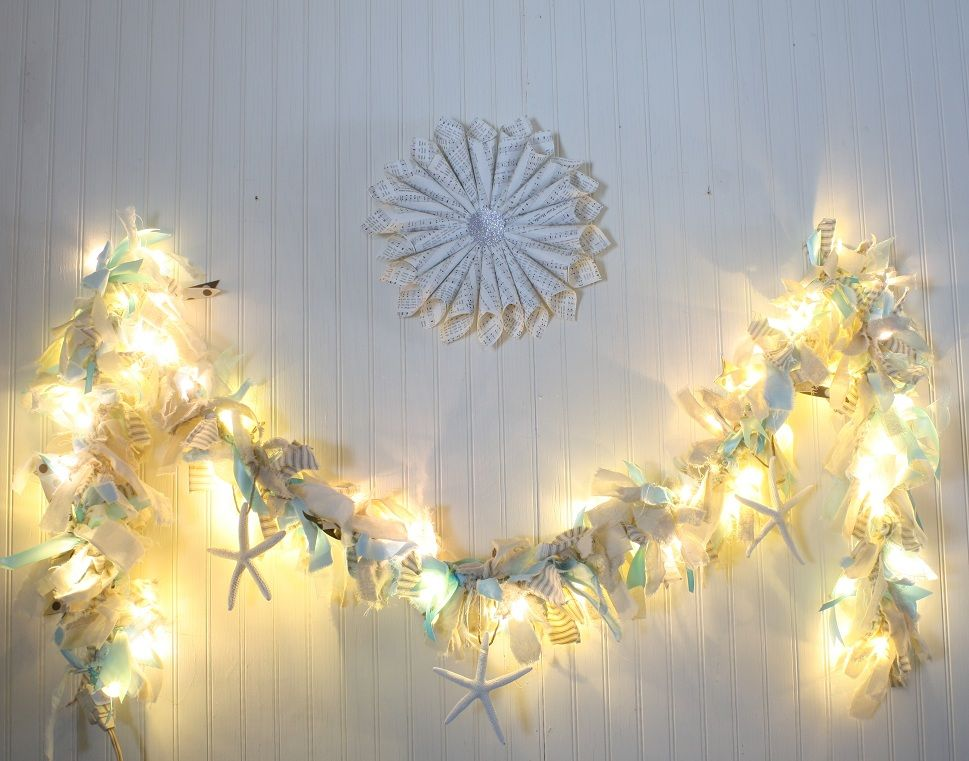 seashell christmas light fabric garland