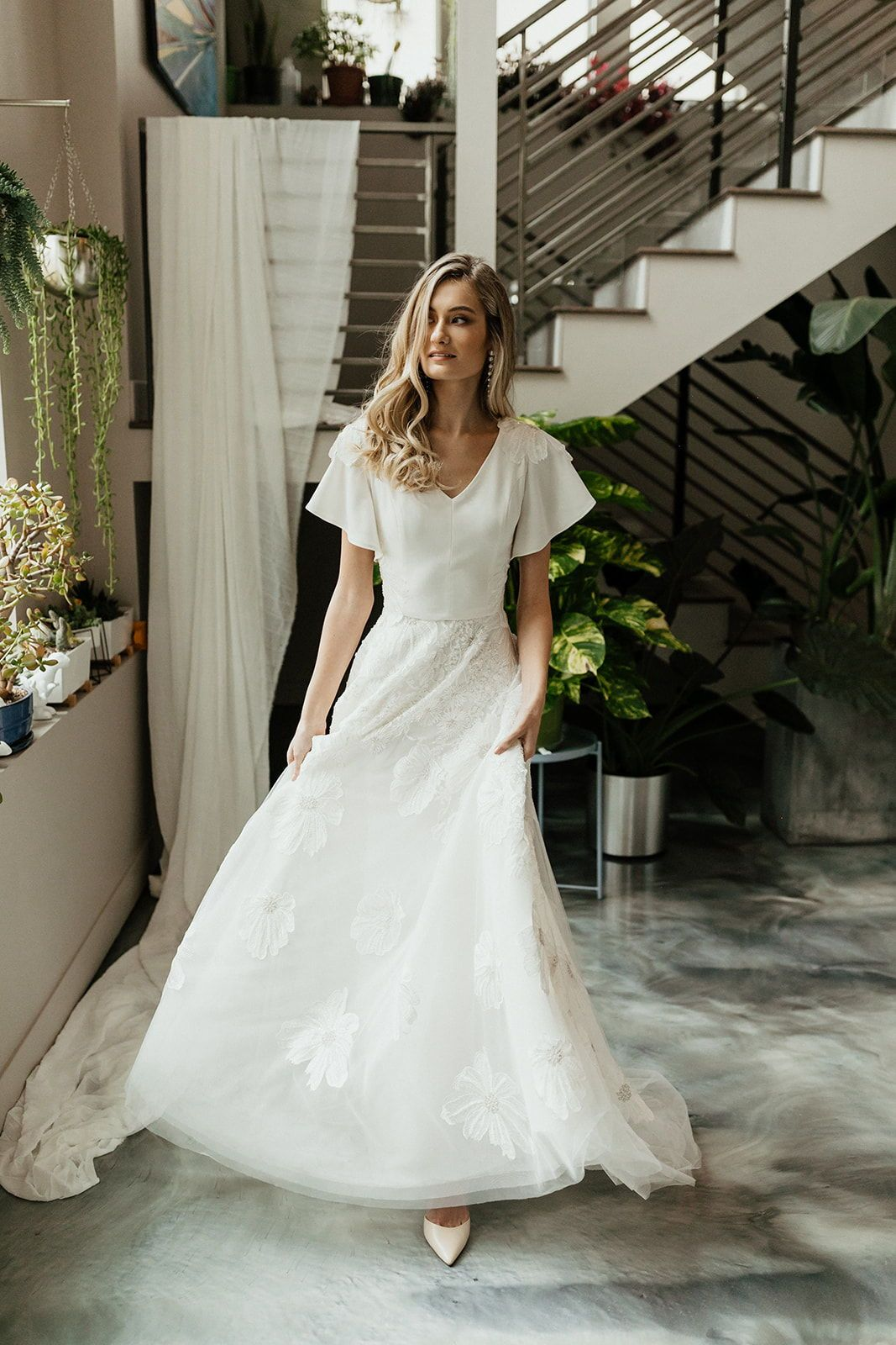 Modest Wedding Dress With Flutter Sleeves In 2020 Modest Wedding Dresses Lds Modest Wedding Dresses Wedding Dresses