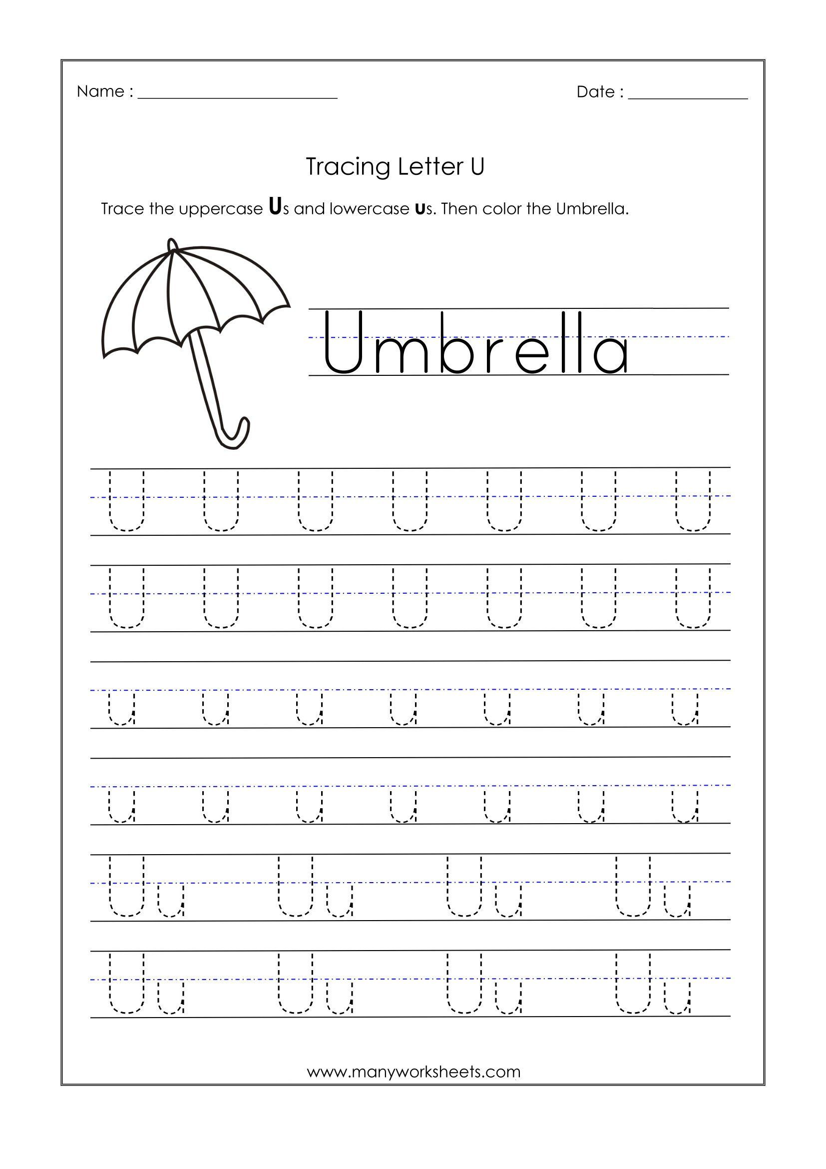 Printable Letter U Worksheets
