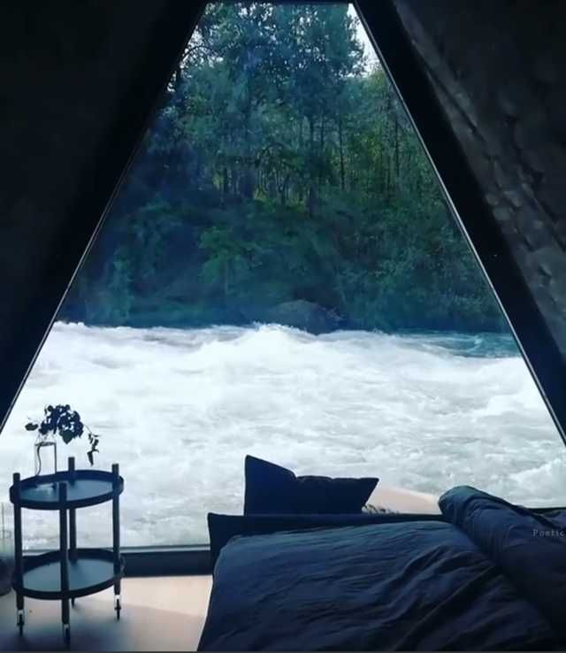A bedroom on a raging river