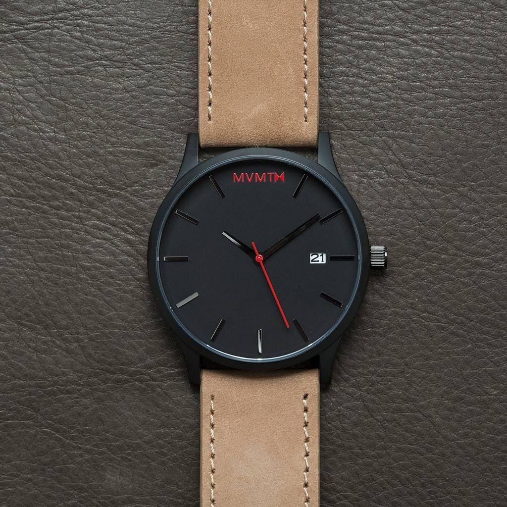 f9425c37fbb relógio mvmt watch black tan leather - belíssimo