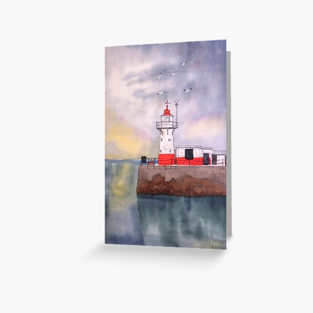 Newlyn Harbour Lighthouse. Greeting Card by John Ray