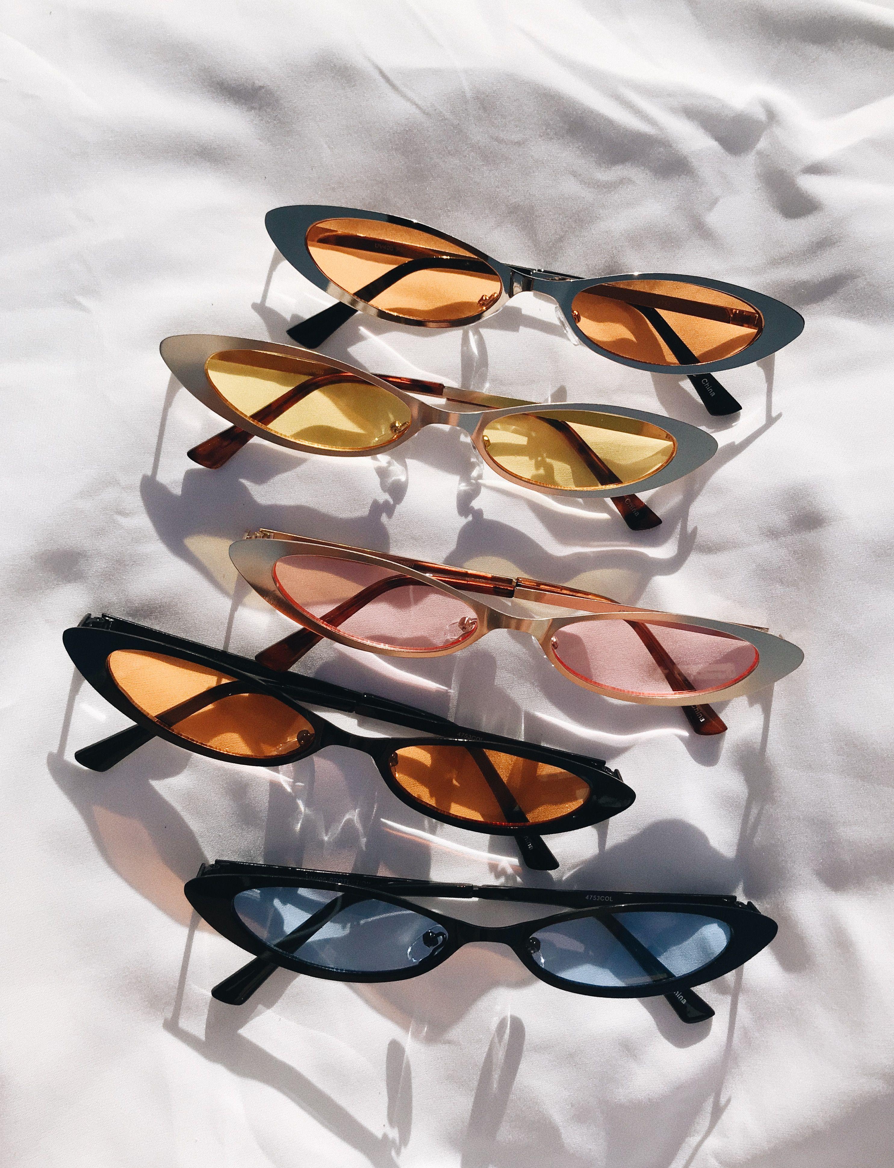 6c8e7ad79cbc Vintage Tinted Cateye | Retro Skinny Cat Sunglasses | Black Frame or ...