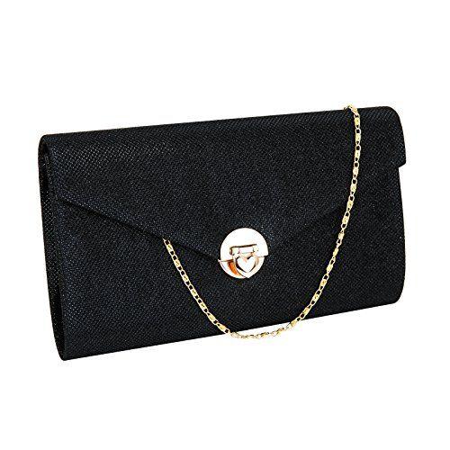 Damentasche Damen Tasche Clutch Tasche Party Handtasche Abendtasche glitzer  schwarz