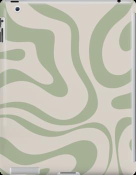 Liquid Swirl Abstract Pattern In Beige And Sage Green Ipad Snap Case by kierkegaard