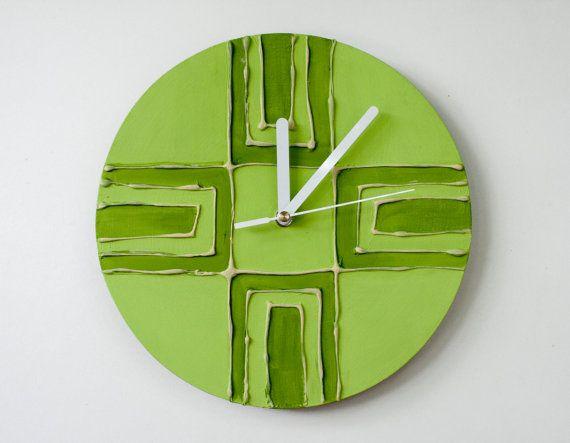 Hipster Clock Retro Green Wall Clock Green Clock Unique Wall Clock Modern Wall Clock Green Home Decor Green Wall Clocks Wall Clock Modern Green Home Decor