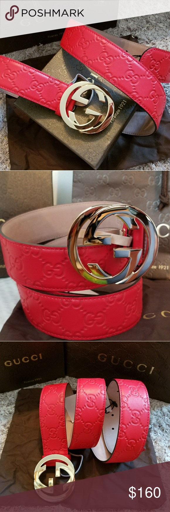 24c230452 😍Authentic Gucci Belt Red Guccissima Gold Buckle 😍Brand New Gucci Belt  Red Guccissima Print with Gold GG Buckle. HOT! Comes with tags, dust bag  and box.