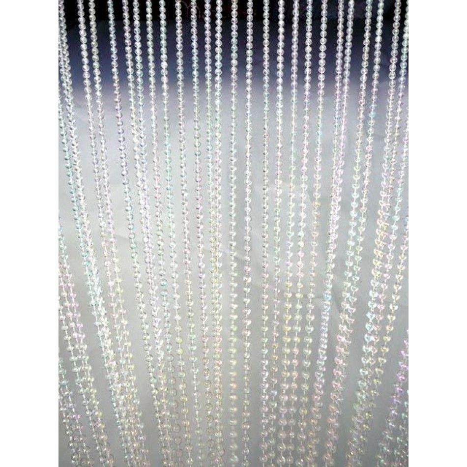3 X 6 Foot Beaded Curtain Panels Pearl Ballchain Beaded