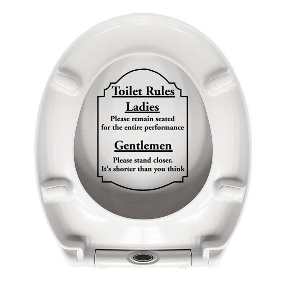 Toilet Rules Funny Toilet Seat Sticker Car Truck Home Computer