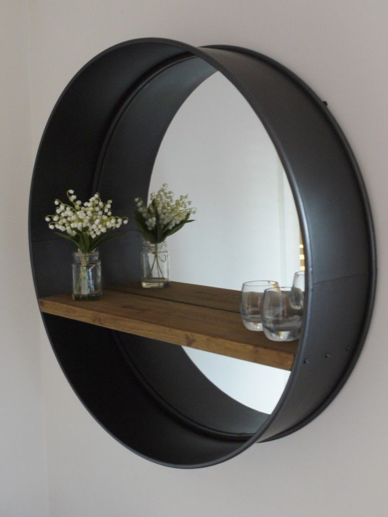 retro industrial vintage style large round wall mirror with shelf 80cm mirrors pinterest. Black Bedroom Furniture Sets. Home Design Ideas