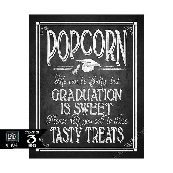 Life Can Be Salty Chalkboard Sign Popcorn Bar Graduation is Sweet Printable Bar Sign Graduation Sign Instant Printable DIGITAL FILE JPG