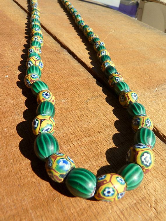 19th Century Venetian Trade Beads Rare Shape Beautiful Beaded Necklaces African Beads Necklace Trade Beads