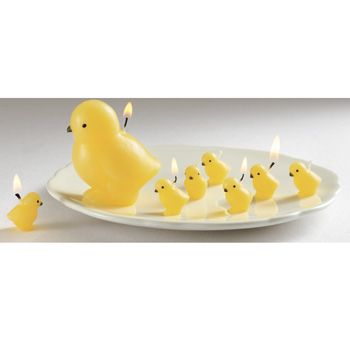Chick candles for Easter.