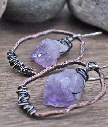 Raw Amethyst Mixed Metal Earrings Rough Gemstone #gemstonejewelry