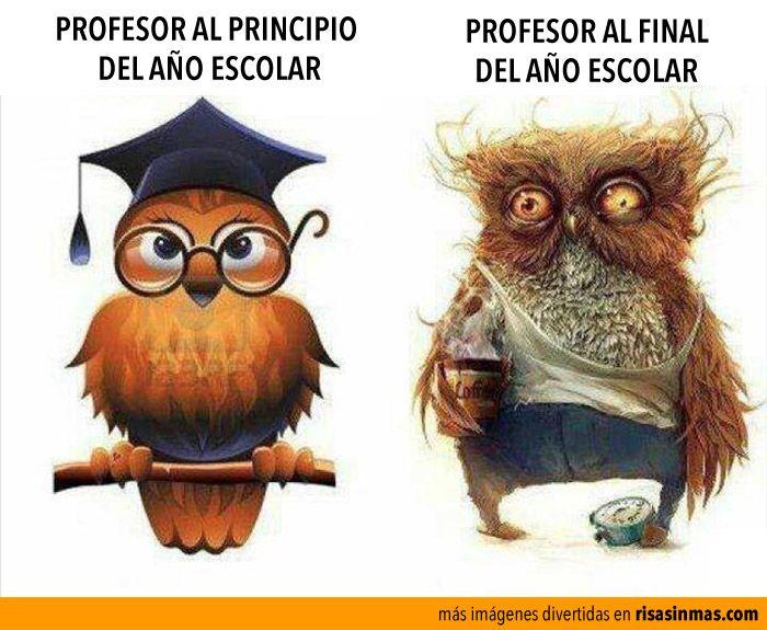 Profesor Al Principio Y Al Final Del Año Escolar Humor E Imágenes