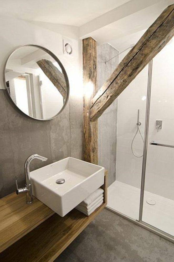 Idée décoration Salle de bain jolie salle de bain avec planche bois