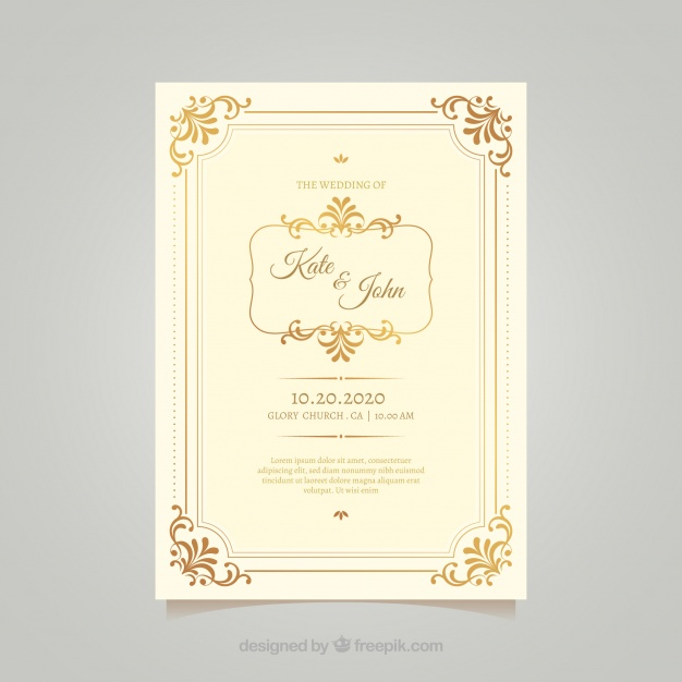 Wedding Invitation In Vintage Style Free Vector Freepik Freevector Wedding Wedding Invitation Vintage Fl In 2020 Wedding Invitations Wedding Badges Invitations