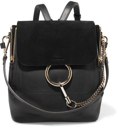 594d67eb7a9a Chloé - Faye Medium Textured-leather And Suede Backpack - Black ...