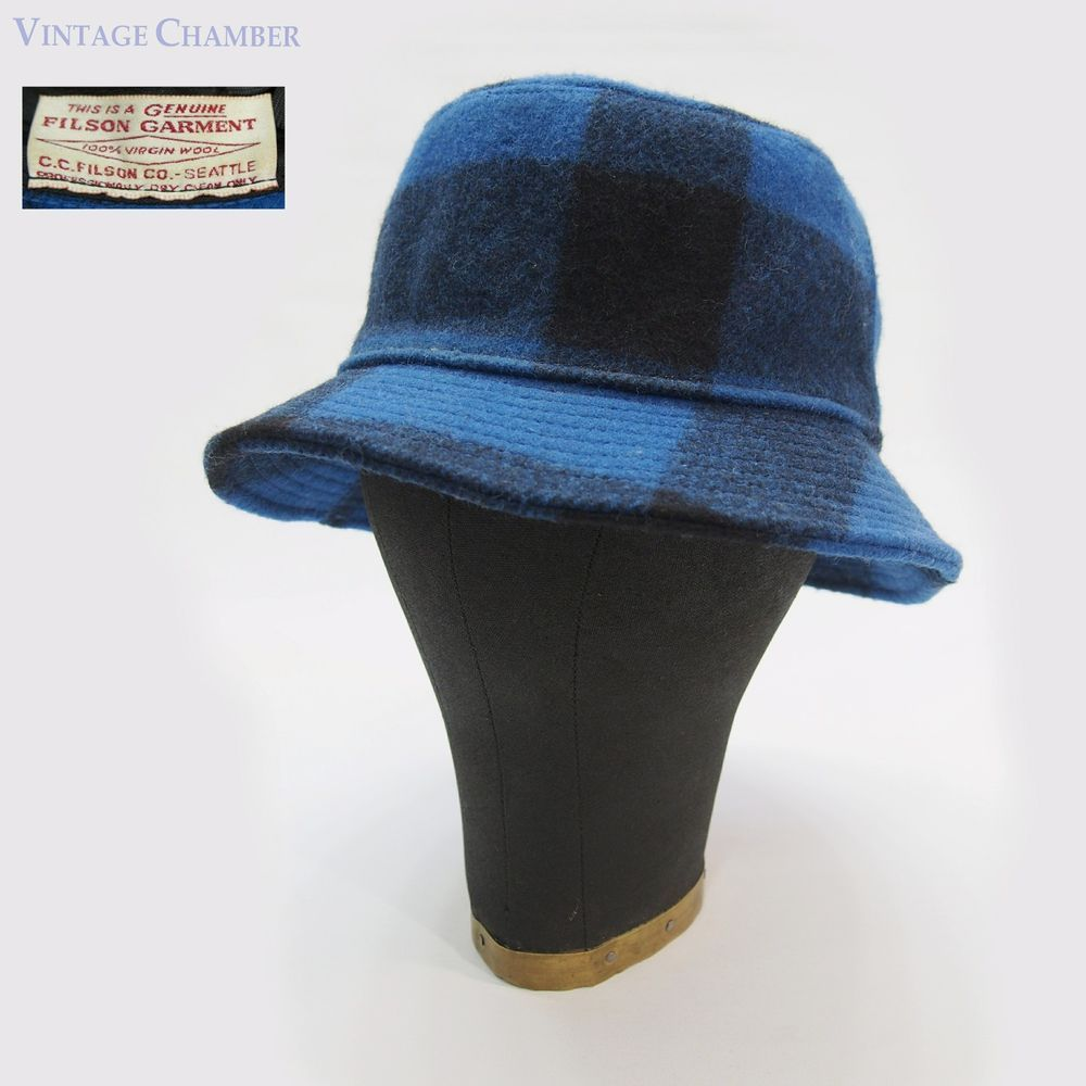 Vtg filson wool blue black bufflalo plaid hunting fedora packer hat jpg  1000x1000 Filson wool hat 19fb1d2539d6