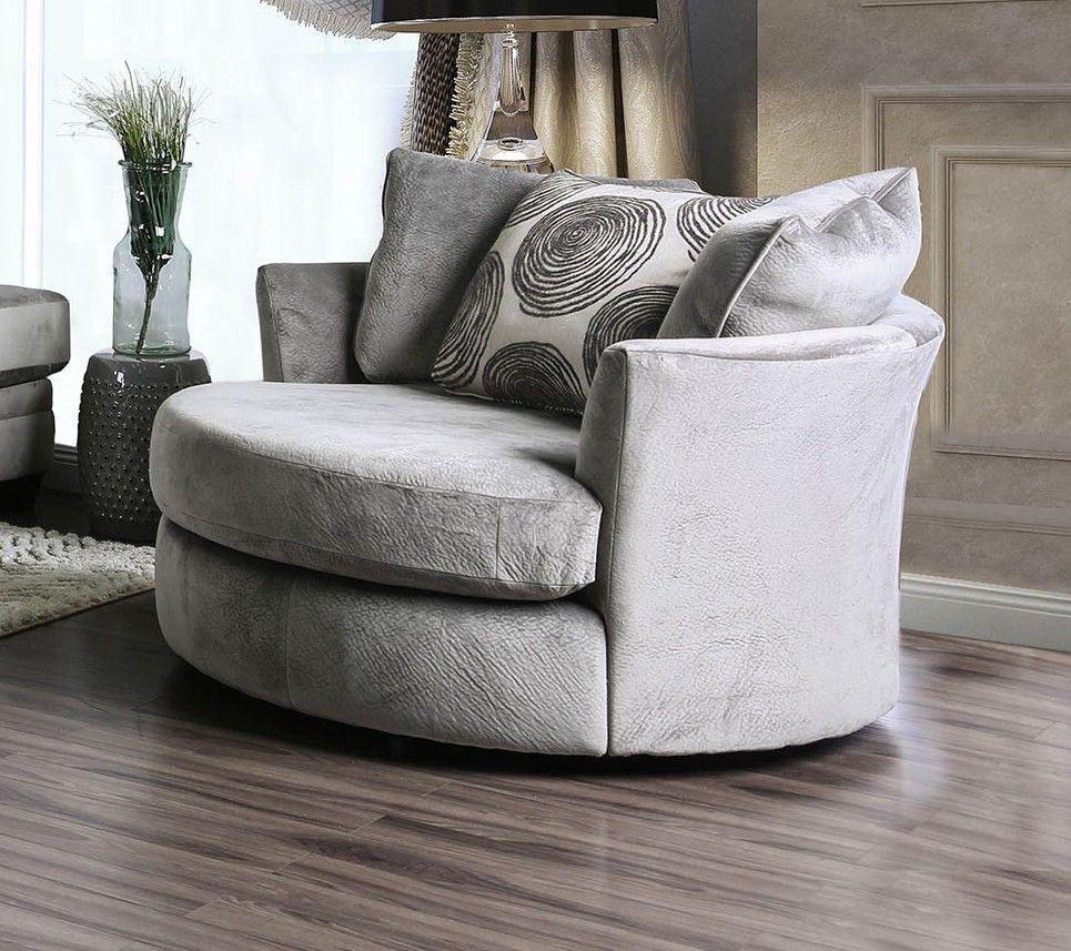 Sm5142gy Ch Bonaventura Gray Plush Microfiber Swivel Oversized Round Accent Chair Oversized Chair Living Room Accent Chairs Wayfair Living Room Chairs