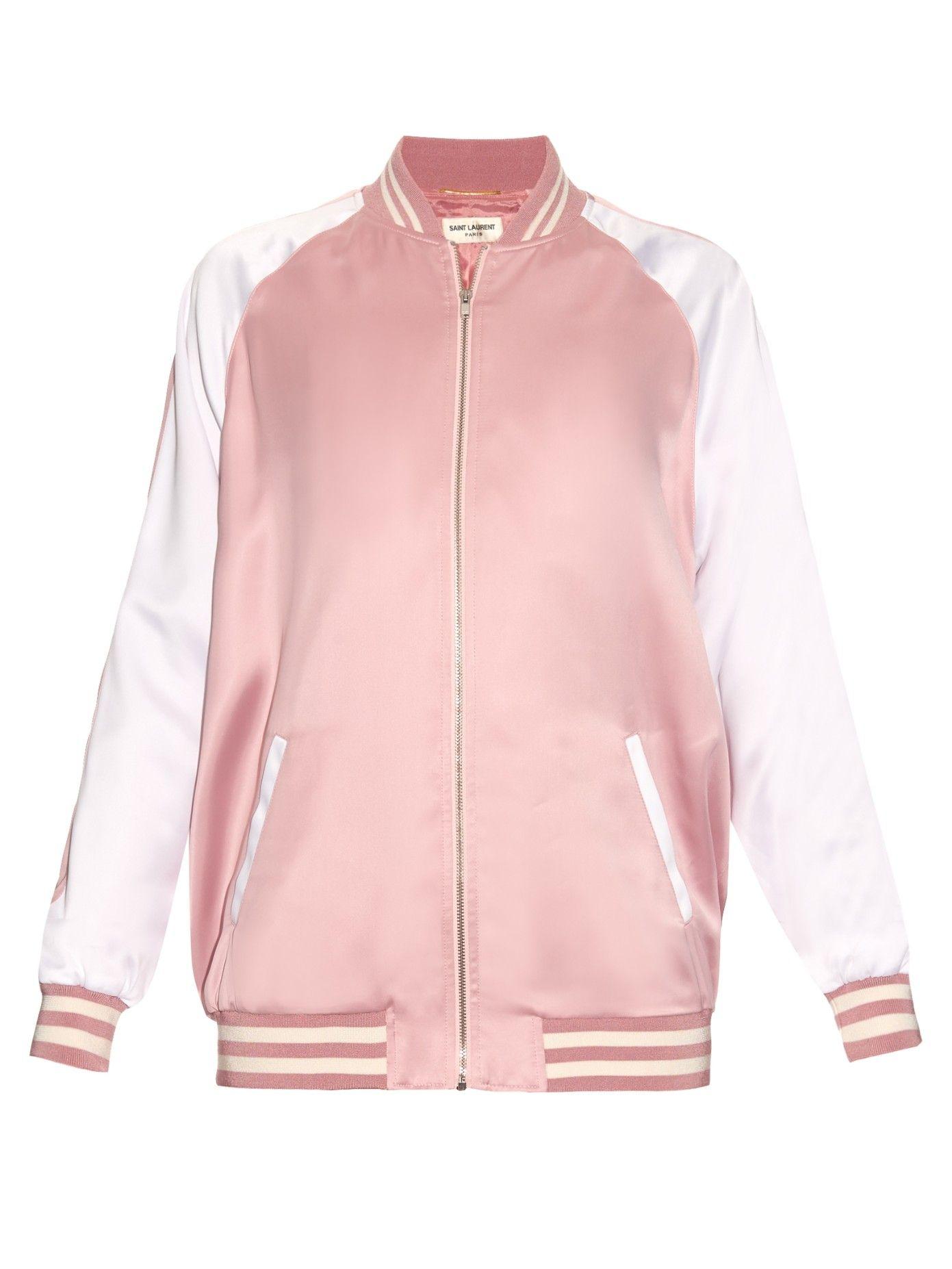 Satin Bomber Jacket Saint Laurent Matchesfashion Us Clothes Clothes Design Pink Bomber Jacket [ 1854 x 1391 Pixel ]