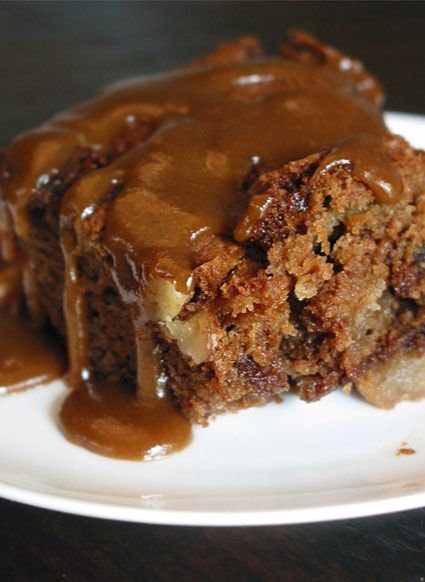 Sticky Spiked Double-Apple Cake with a Brown Sugar-Brandy Sauce