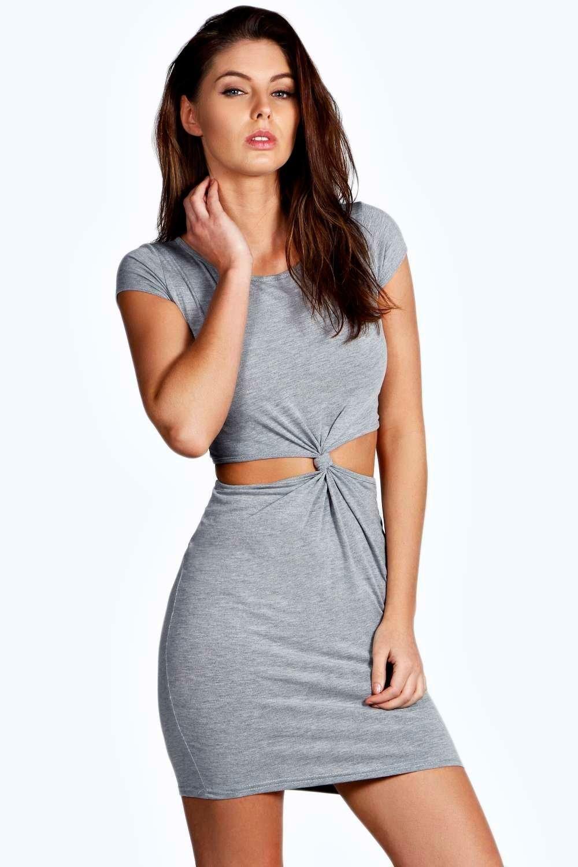 Kelly Cutout Side Cap Sleeve Knot Dress | Boohoo