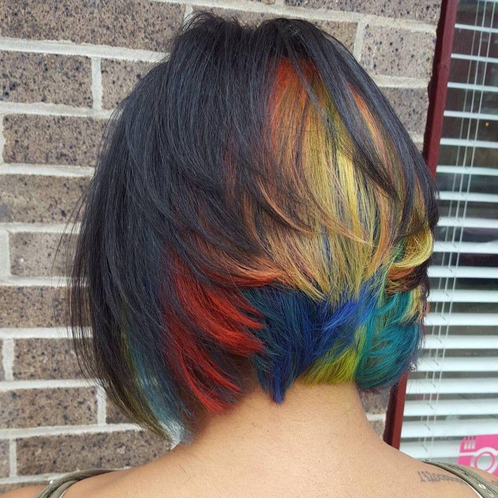 black bobbed hair with peekaboo rainbow | random | pinterest