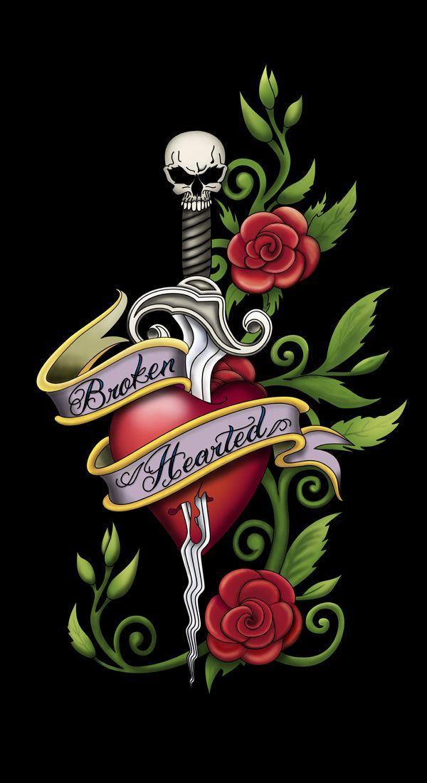 Cdb39c55a50469a0d1141fb7a1031f76 Jpg 600 1101 Heart Flower Tattoo Broken Heart Tattoo Heart Drawing