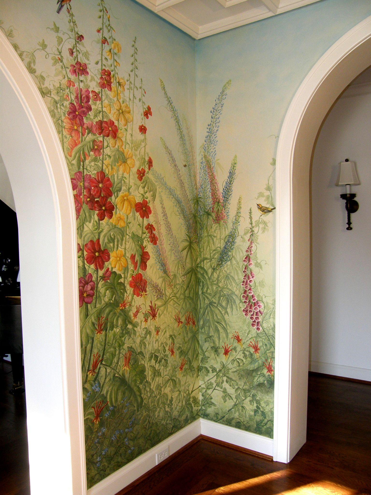 Foyer English Garden Mural Corner Garden Mural Wall Murals