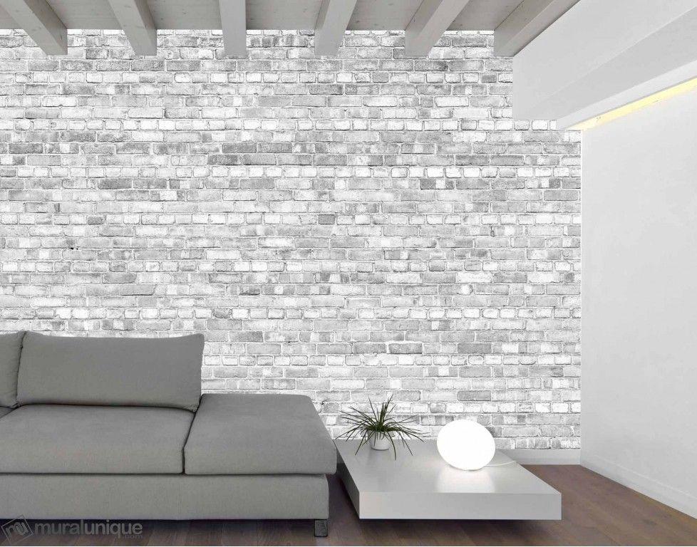 Vieux Mur de Briques (Noir et Blanc Version Pâle) 12u0027 x 8u0027 (3,66m x