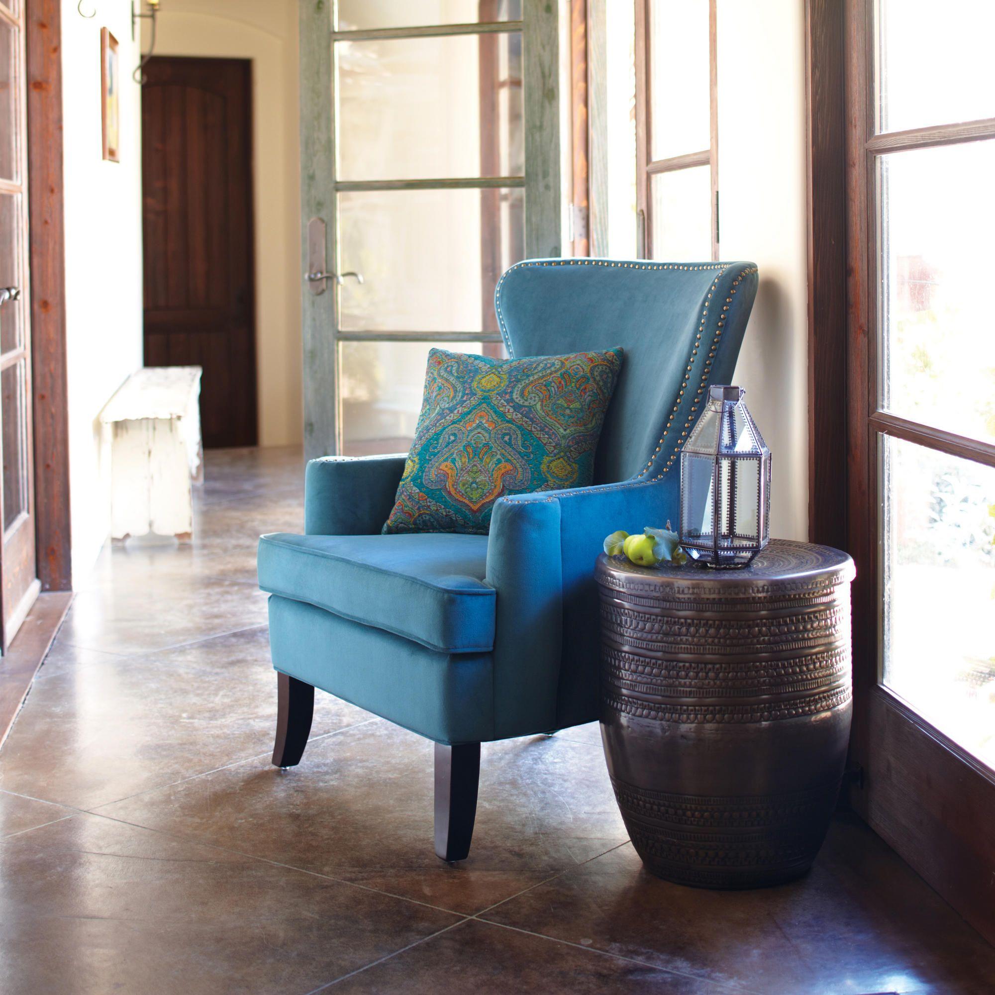 Superieur Pacific Blue Elliott Wingback Chair | World Market