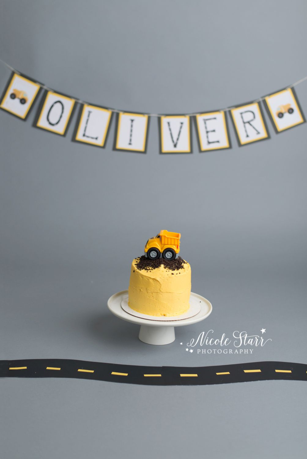 Superb Olivers Construction Truck First Birthday Cake Smash With Images Funny Birthday Cards Online Ioscodamsfinfo