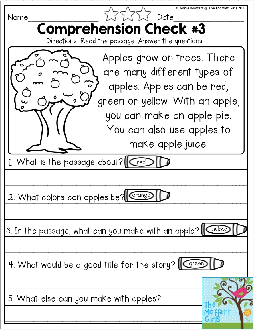 Reading Comprehension Checks for September- Monthly NO PREP…   Reading  comprehension kindergarten [ 1152 x 888 Pixel ]