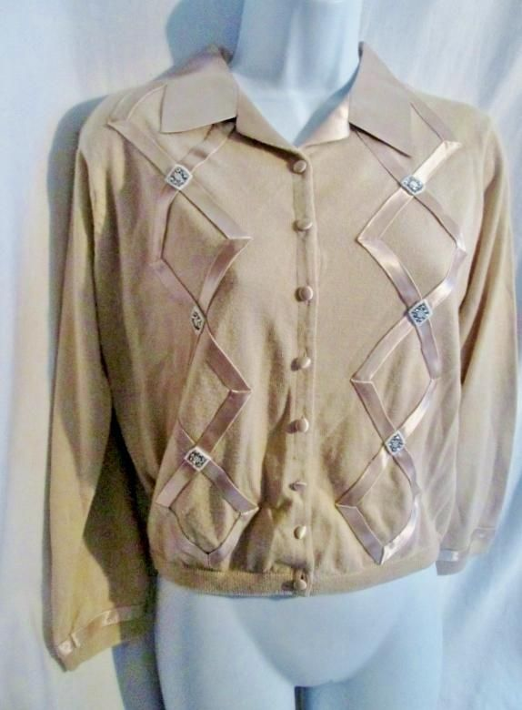 NEW Womens BANANA REPUBLIC Argyle Ribbon Cardigan Sweater Jacket Beige M Gold