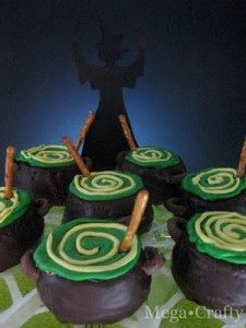 cauldron cupcakes.  Could frost the cupcakes and dip them in oreo crumbs and have that be the bottom, then the stump could be the brew boiling over.  Could be way cute!