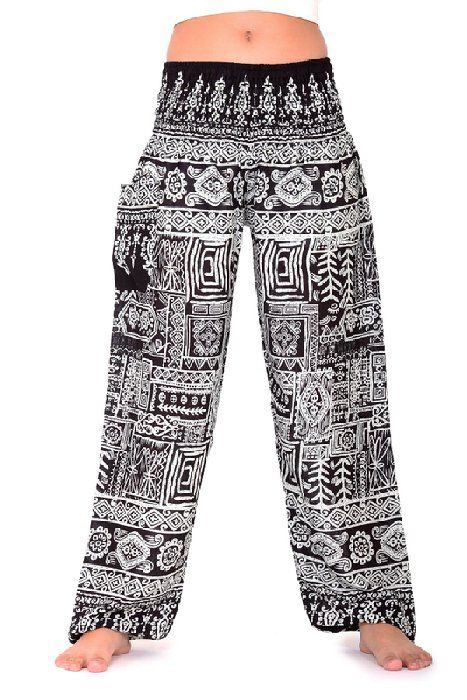 8a5fe44a481b9 Bangkokpants Hippie Boho Pants Art Design Black One Size Fits Women Rayon  US 0-12
